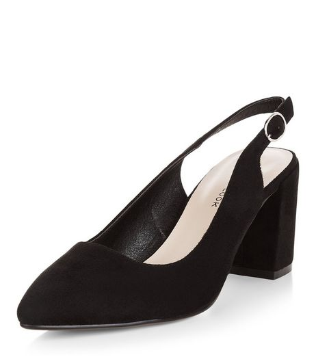 Wide Fit Black Sling Back Flared Heels  | New Look