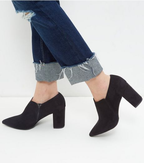 Wide Fit Black Suedette Pointed Shoe Boots  | New Look