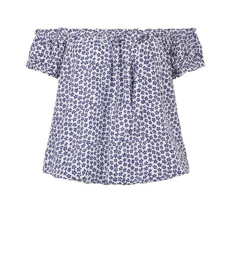 Apricot Navy Floral Print Bardot Neck Top | New Look
