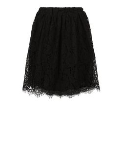 Apricot Black Lace Scallop Hem Skirt | New Look