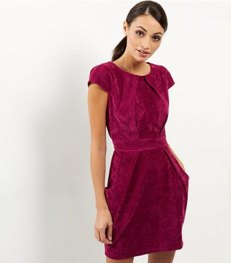 Blue Vanilla Dark Red Velvet Cap Sleeve Dress | New Look
