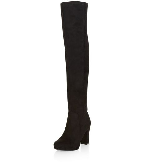 Black Suedette Block Heel Over The Knee Boots  | New Look
