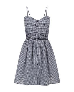 Blue Vanilla Check Button Front Dress | New Look