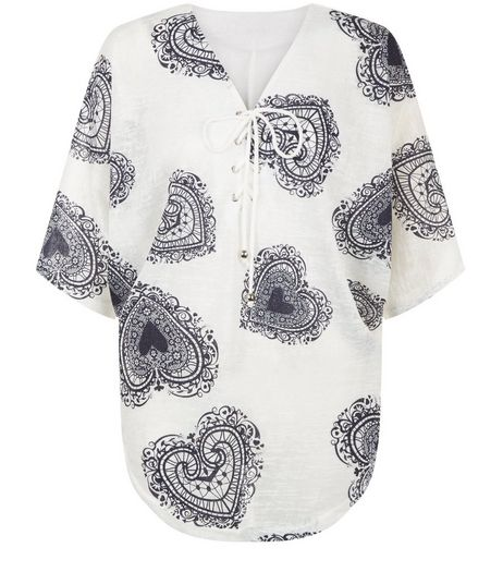 Blue Vanilla Navy Heart Print Batwing Top | New Look