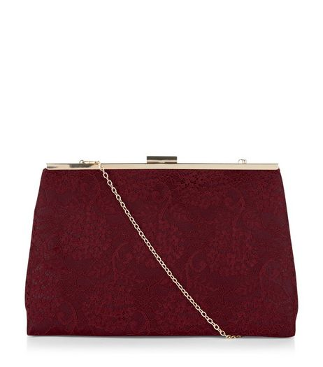 Burgundy Lace Clutch | New Look