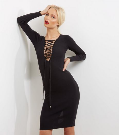 Blue Vanilla Black Lattice Front Long Sleeve Bodycon Dress | New Look