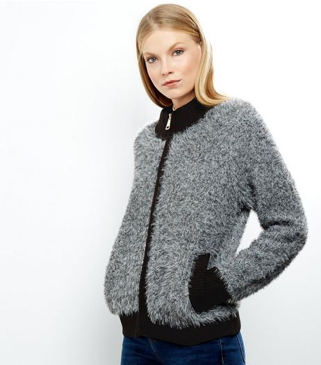 Blue Vanilla Dark Grey Faux Fur Cardigan  | New Look