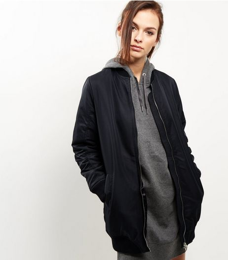 Blue Vanilla Black Longline Bomber Jacket | New Look