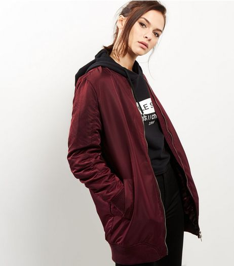 Blue Vanilla Burgundy Longline Bomber Jacket | New Look