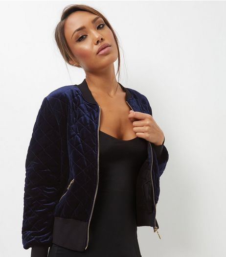 Blue Vanilla Navy Quilted Bomber Jacket | New Look