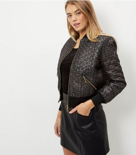 Blue Vanilla Jacquard Bomber Jacket  | New Look