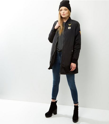 Blue Vanilla Black Embroidered Longline Bomber Jacket | New Look