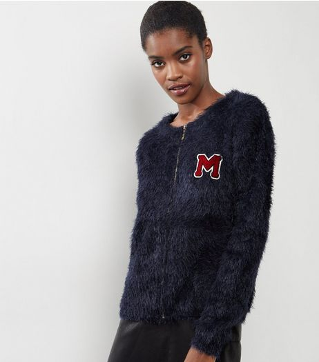 Blue Vanilla Navy Eyelash M Badge Embroidered Cardigan  | New Look