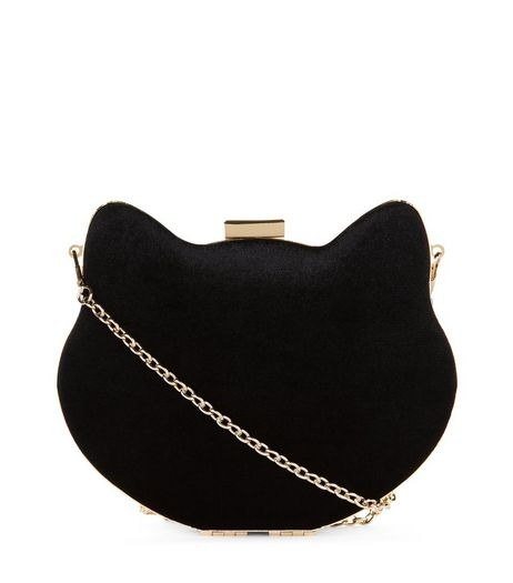 Black Cat Box Clutch Bag  | New Look
