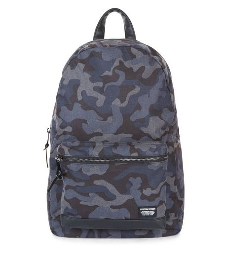 Blue Camo Print Backpack | New Look