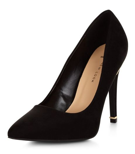 Wide Fit Black Metal Trim Suedette Heels | New Look