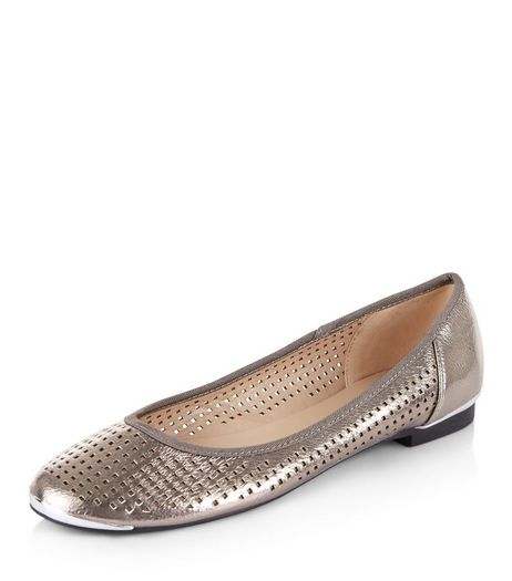 Pewter Laser Cut Out Ballet Pumps  | New Look