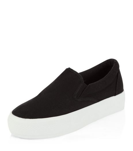 Black Canvas Flatform Plimsolls  | New Look