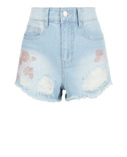 Pale Blue Embroidered Ripped Denim Shorts | New Look