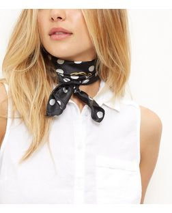Black Polka Dot Stripe Bandana Neckerchief | New Look