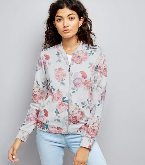 White Scuba Floral Print Bomber Jacket  | New Look