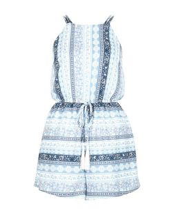 Parisian Blue Tile Stripe High Neck Playsuit | New Look