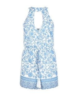 Parisian Blue Floral Print Cut Out Front Playsuit | New Look