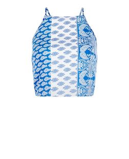 Parisian Blue Paisley Print Lace Up Cami | New Look