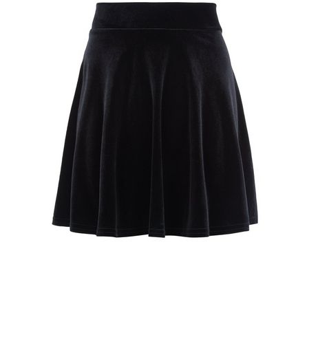 Teens Black Velvet Skater Skirt | New Look