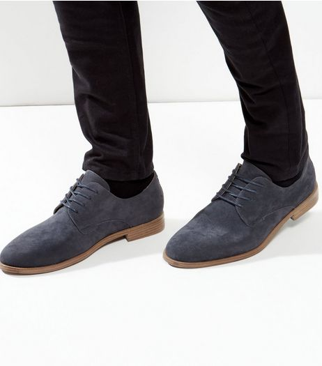 Navy Suedette Lace Up Brogues | New Look