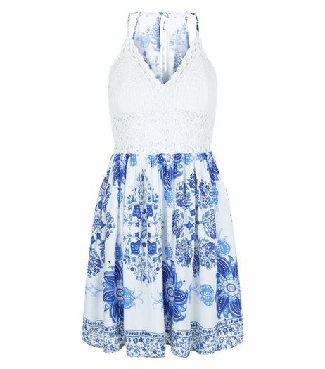 Parisian Blue Floral Print Crochet Panel Dress | New Look