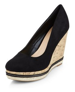 Black Suedette Contrast Cork Wedges  | New Look