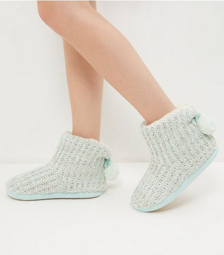 Mint Green Knitted Pom Pom Slipper Boots | New Look