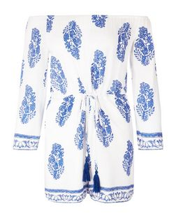 Parisian White Floral Print Bardot Neck Playsuit | New Look