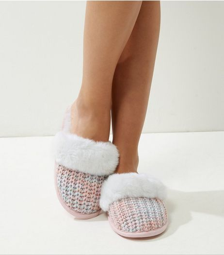 Pink and Green Faux Fur Lined Mule Slippers | New Look