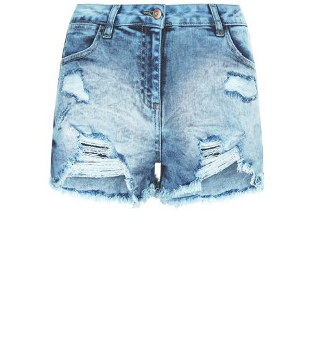 Parisian Pale Blue Ripped Denim Shorts | New Look