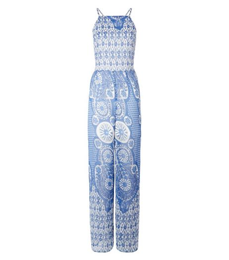 Parisian Blue Tile Print Wide Leg Jumpsuit | New Look
