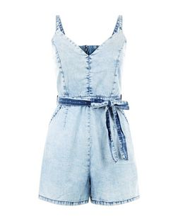 Parisian Pale Blue Acid Wash Strappy Playsuit | New Look