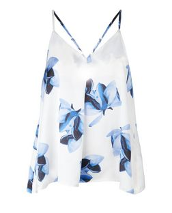 Parisian White Floral Print Satin Cami  | New Look