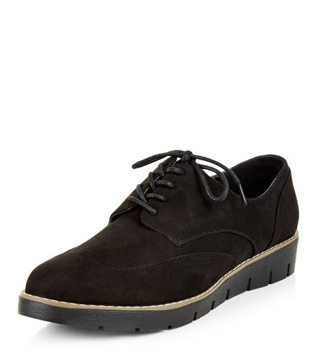 Black Lace Up Stitch Trim Brogues | New Look