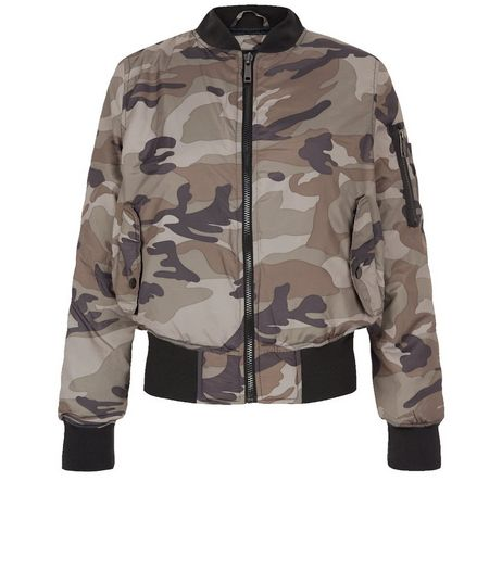 QED Green Camo Print Bomber Jacket | New Look