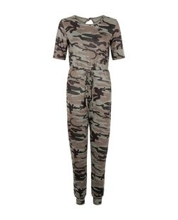 QED Green Camo Print Short Sleeve Jumpsuit | New Look