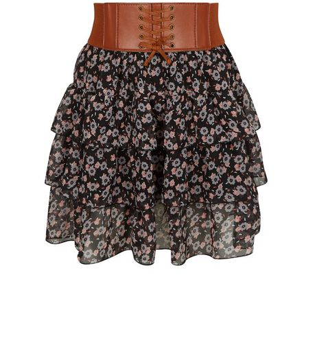 Teens Black Floral Print Belted Rara Skirt | New Look