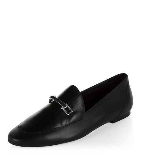 Black Premium Leather Loafers | New Look