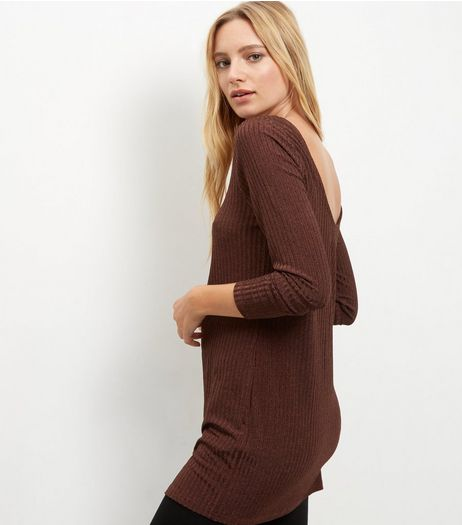 Bronze Ribbed Fine Knit Long Sleeve Top  | New Look