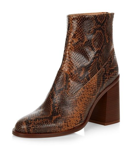 Stone Premium Leather Snakeskin Print Block Heel Ankle Boots | New Look