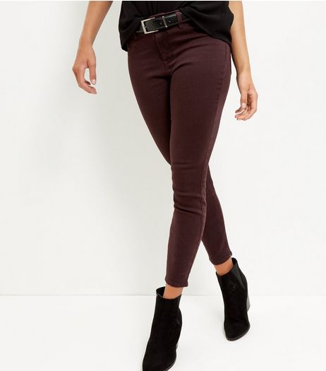 Burgundy Skinny Jeans  | New Look