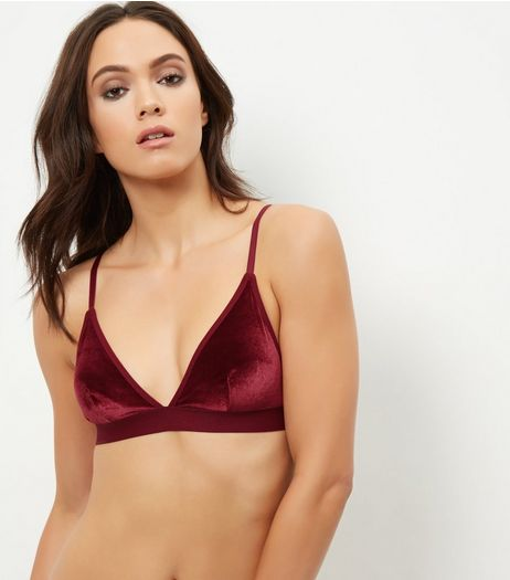 Burgundy Velvet Bralet | New Look