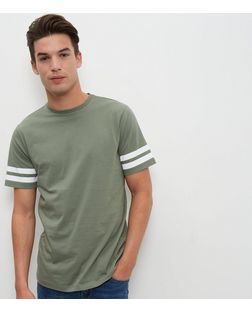 Olive Green Stripe Sleeve T-Shirt  | New Look