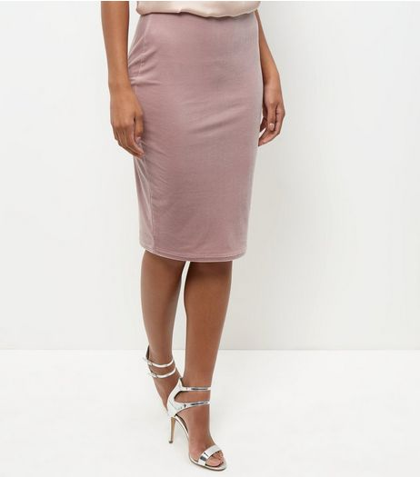Shell Pink Velvet Pencil Skirt  | New Look